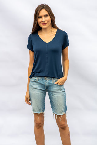 The V-Neck Tee in Navy