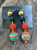 Orange and Green Drop Earrings
