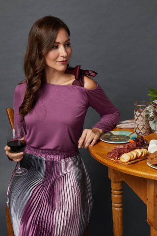 The Ellie Bow Blouse in Mauve