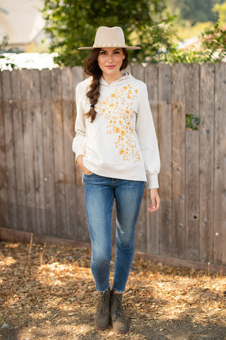 The Layla Embroidered Pullover in Birch