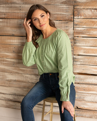 The Leilani Blouse in Quiet Green