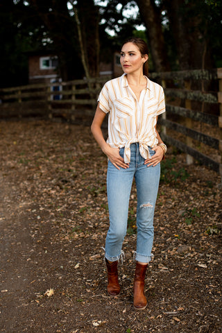 The Lindsay Shirt in Golden Stripe