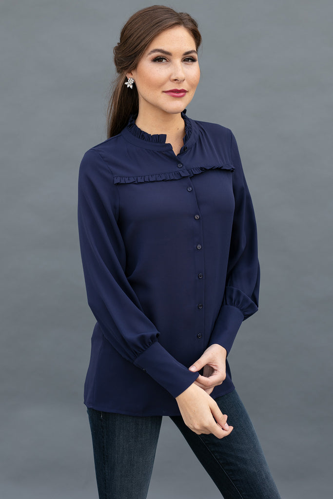 The Madison Blouse in Midnight