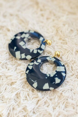 Marble Hoop Earrings in Navy and Cream