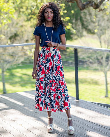 The Maxi Skirt in Navy and Red Floral
