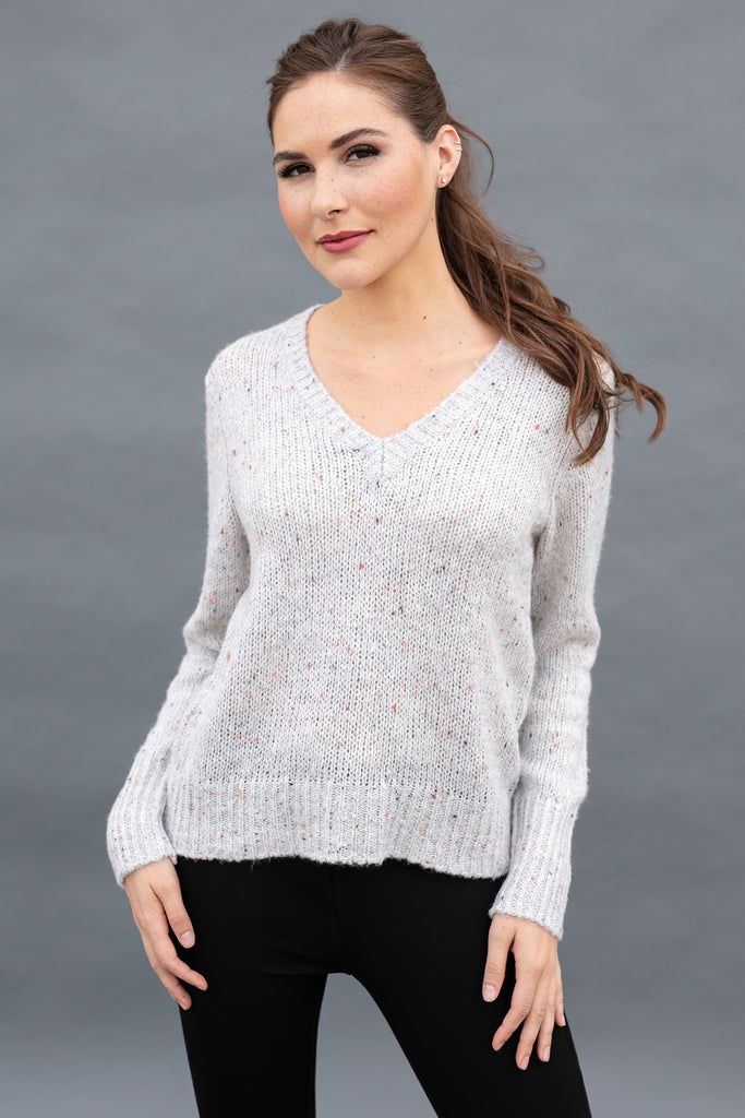 The Michelle Sweater in Ice Grey Speckle