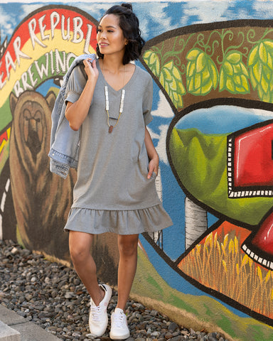 The Mikela Dress in Heathered Grey