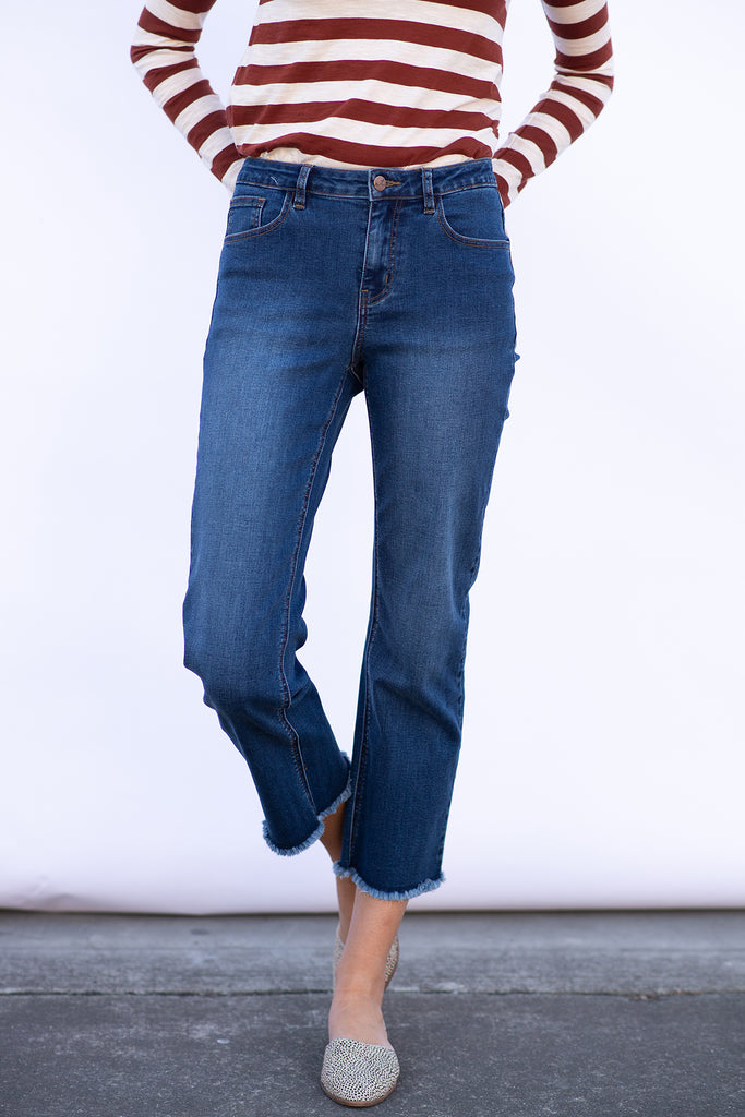 The Premium Denim Cropped Boot Cut with Raw Edge
