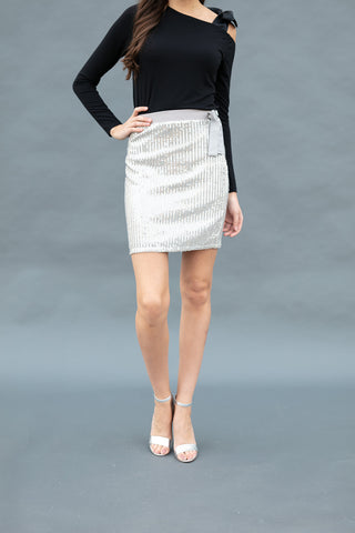 The Sequin Skirt in Silver