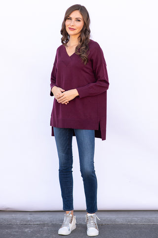 The Shiloh Sweater in Merlot