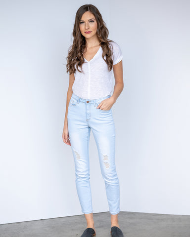 The Premium Distressed Denim Skinny in Light Wash