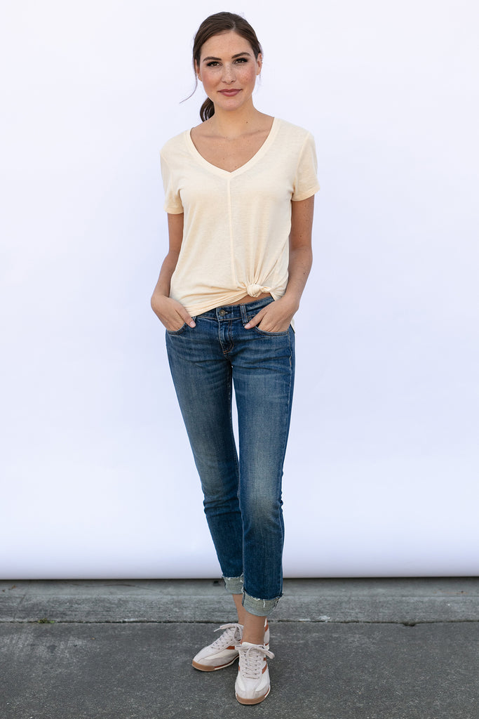 The V-Neck Tee in Oatmeal Burnout