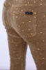 The Velour Skinny in Fawn with Foil Dot
