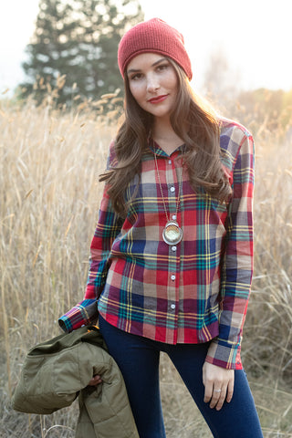 The Amy Shirt in Red and Blue Plaid