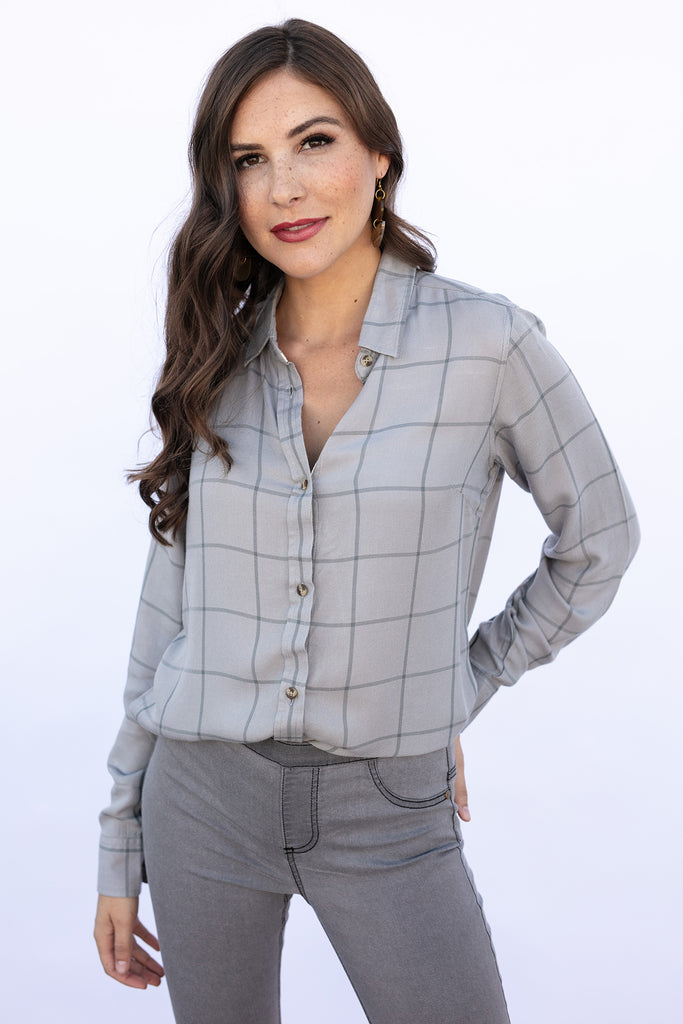 The Amy Shirt in Grey Plaid