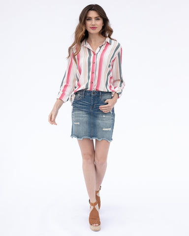 The Amy Shirt in Spring Stripe