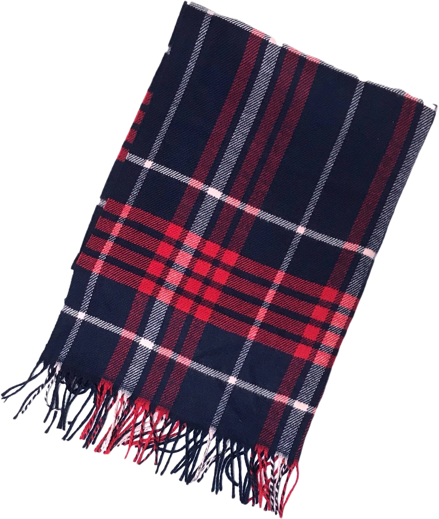 Navy and Red Plaid Blanket Scarf