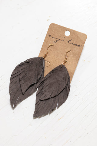 The Leather Feather Earrings in Ice Grey