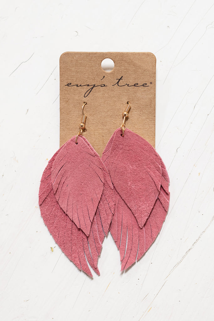 The Leather Feather Earrings in Rose