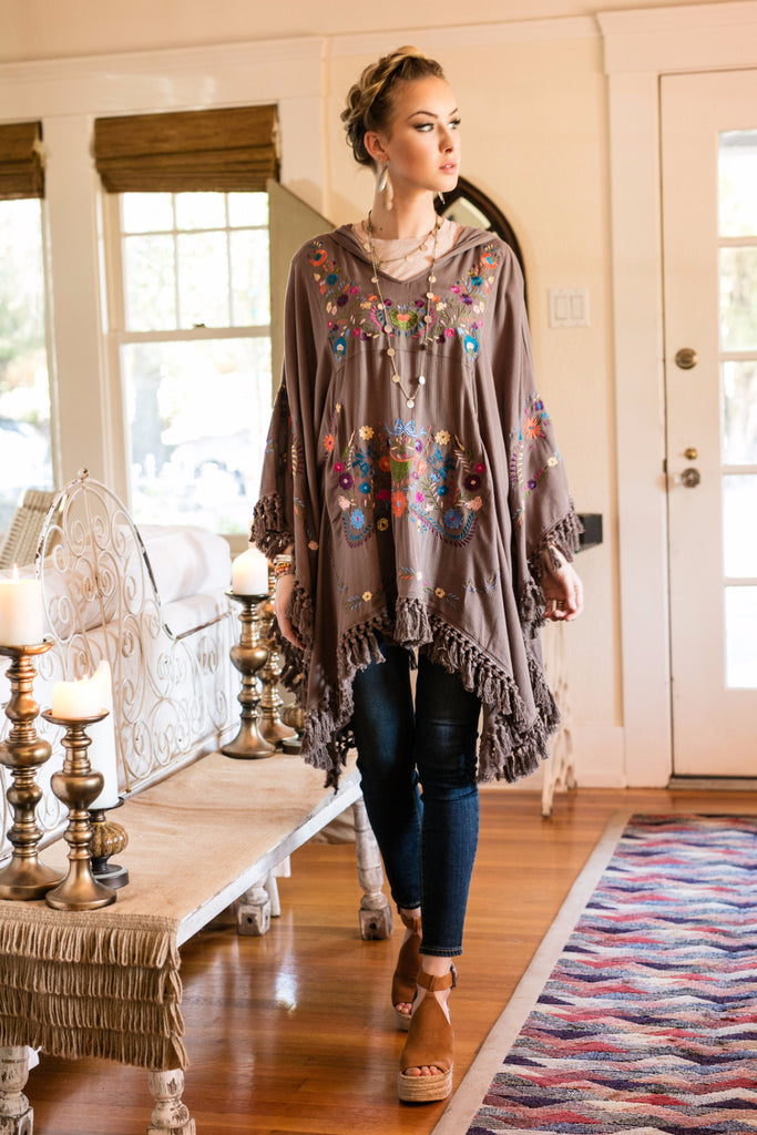 The Kay Poncho in Desert Taupe