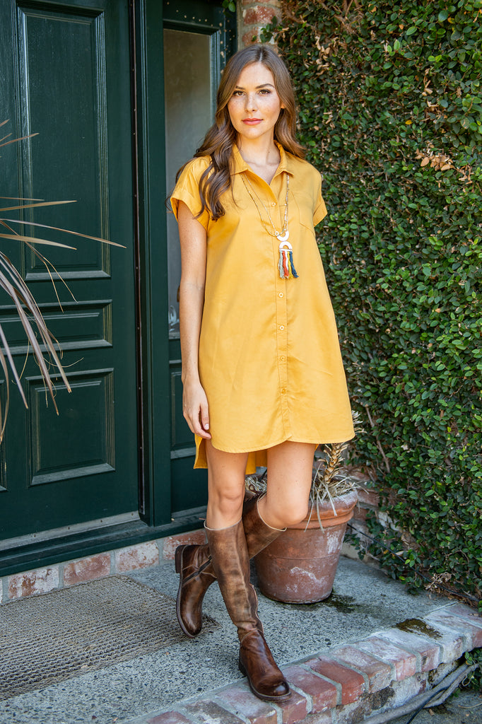 The Harper Dress in Mustard