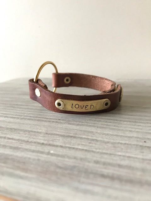 Hand-stamped Leather Simple Ring Cuff by Lil' Red Mouse