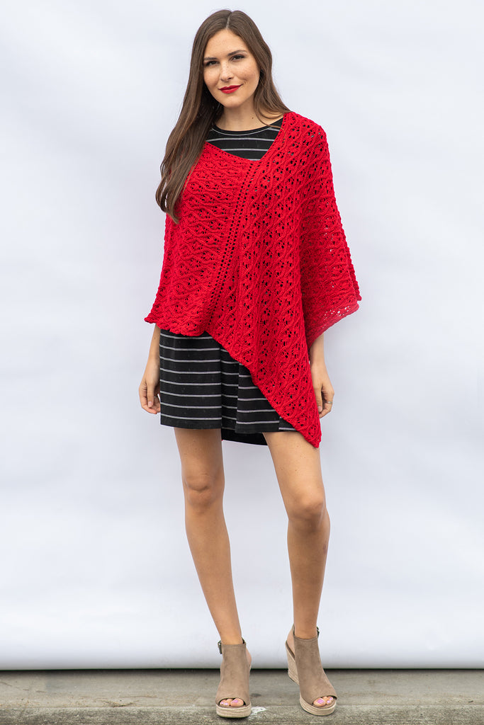 The Lauren Poncho in Candy Apple