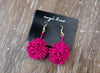 Beaded Pom Earrings in Pink