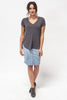 The V-Neck Tee in Charcoal