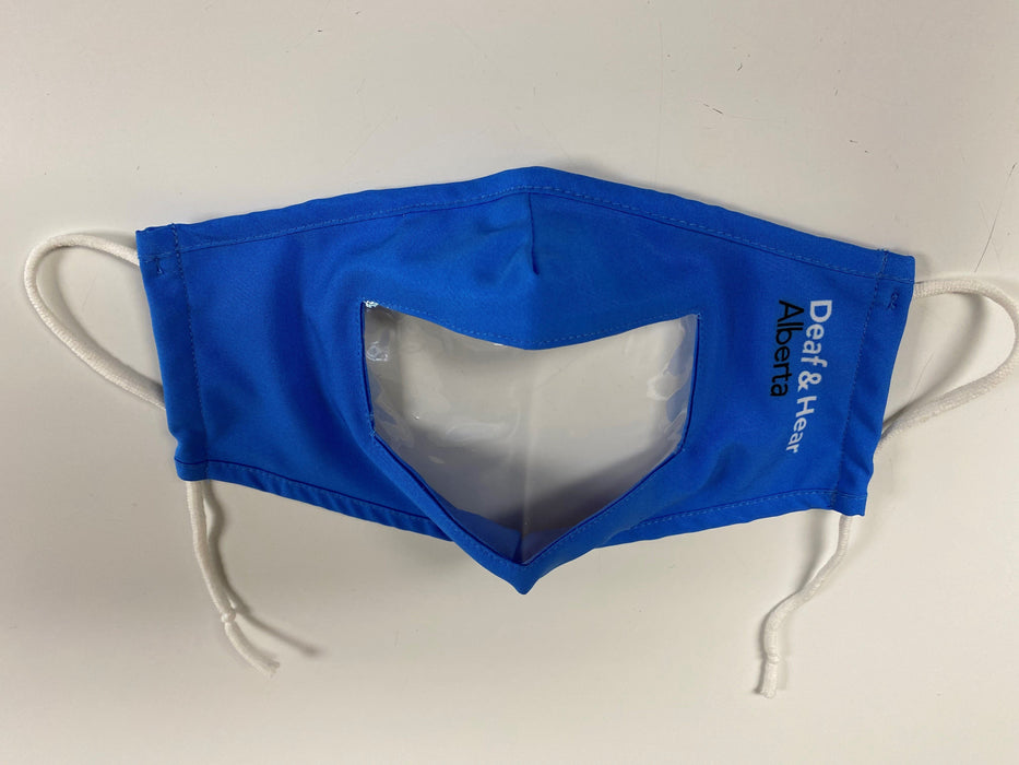 Blue Fabric Mask with Clear Window and Drawstring Ear Loops Mask