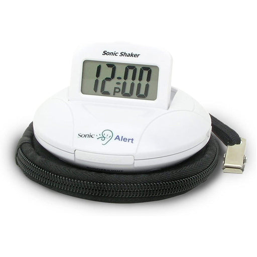 Sonic Alert Sonic Shaker Vibrating Travel Alarm Clock White