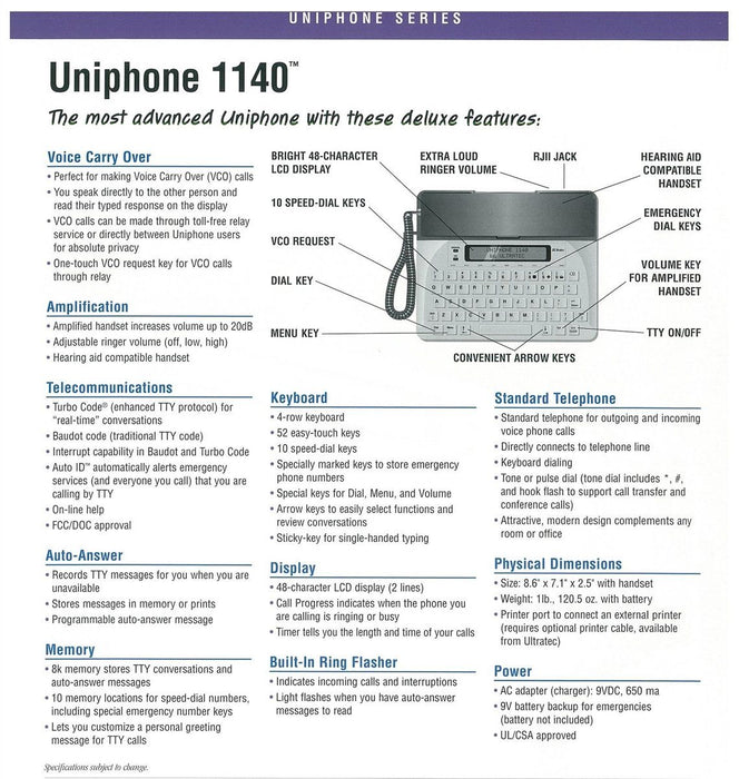 Ultratec Uniphone 1140TTY VCO & HCO Feature Sheet