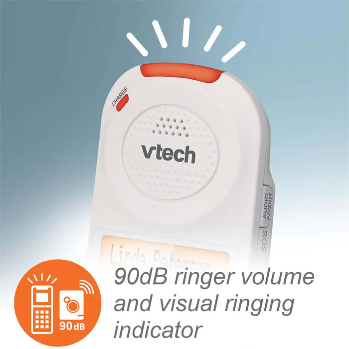 Vtech SN5147 Amplified Corded/Cordless Phone with Answering System, Big Buttons, Extra-Loud Ringer & Smart Call Blocker 90dB Ringer Volume and Visual Ringing Indicator