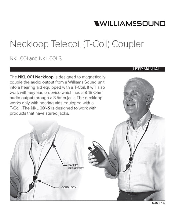 "Williams Sound Neckloop 18"" (Mono Plug) NKL 001 Feature Sheet"
