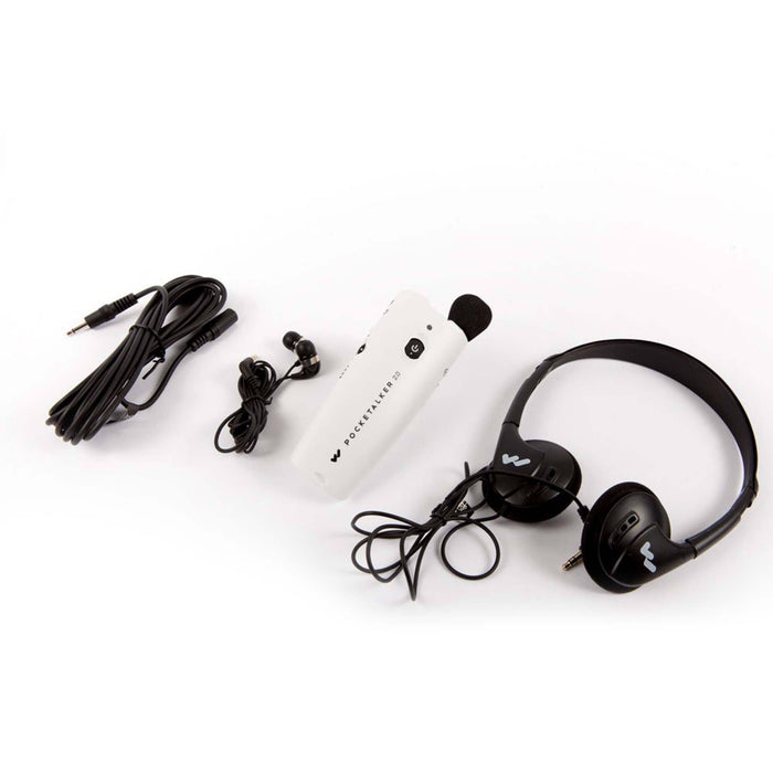 Williams Sound PKT 2.0 Pocketalker with Headset, Earbuds and External Mic Showing All Accessories