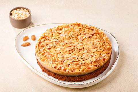 Glazed Almond cake with hot/cold coffee