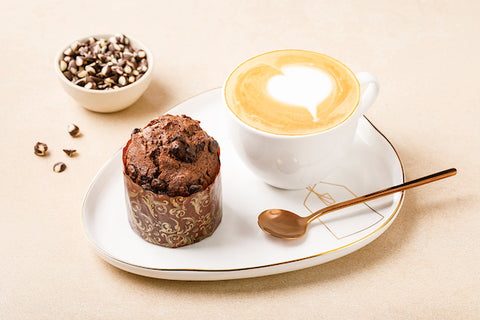 Muffin with hot coffee