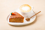 Carrot cake with hot/cold coffee