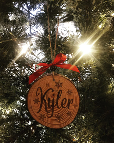 Personalized Bark Edge Ornament