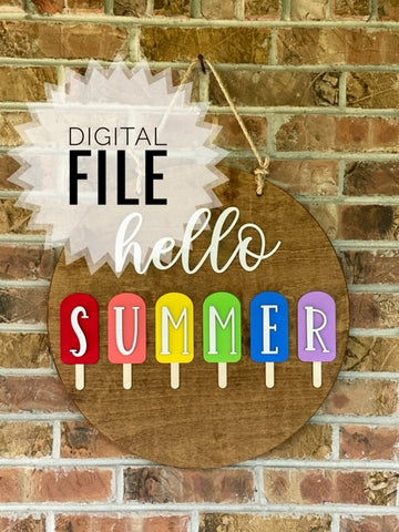"Digital SVG File Only - Hello Summer 18"" Round"