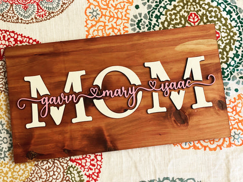 Cedar Wood Mom/Grandma/Aunt Family Sign