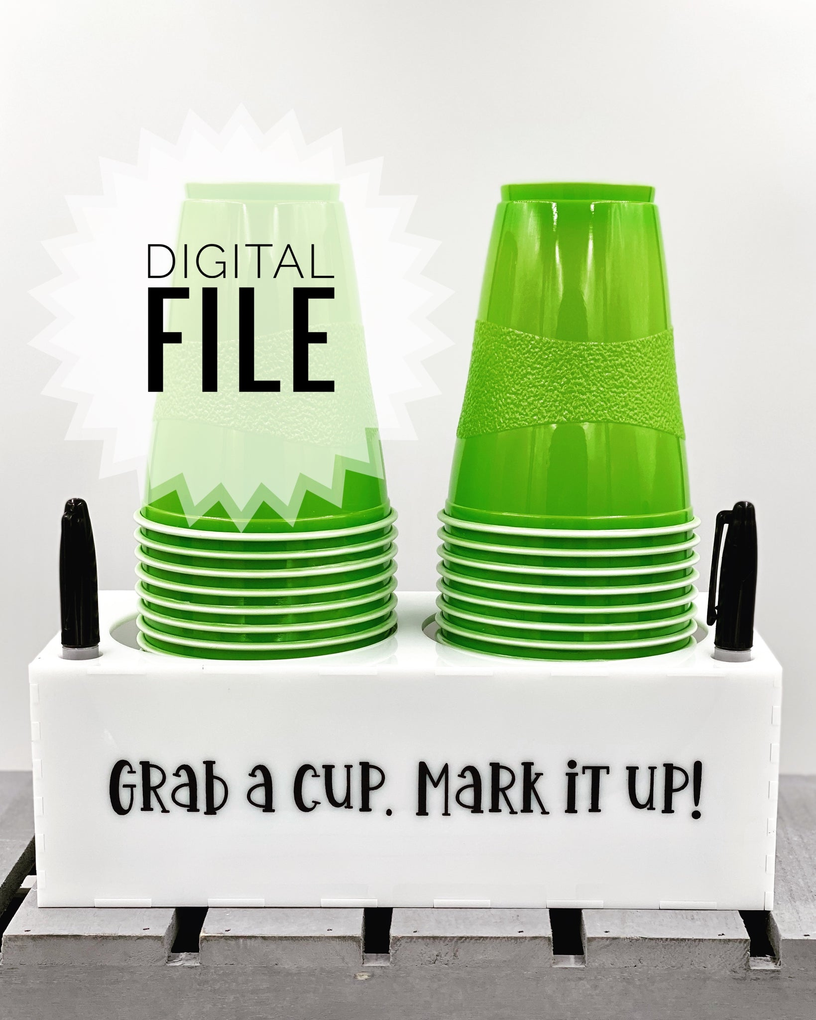 Digital SVG File Only - Double Cup & Marker Holder