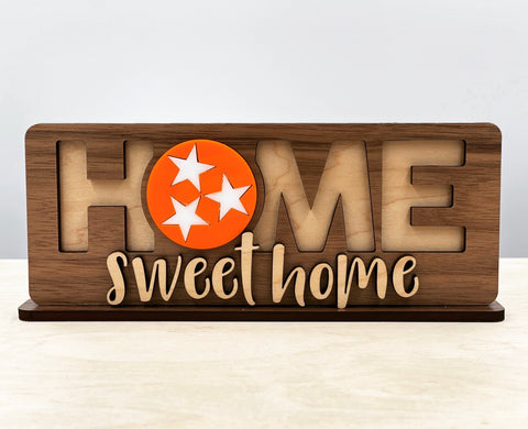 "Tennessee Three-Star ""Home Sweet Home"" Wooden Sign"