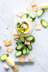 Hummus with Sliced Cucumbers and Pita Chips (DF,NF,V)