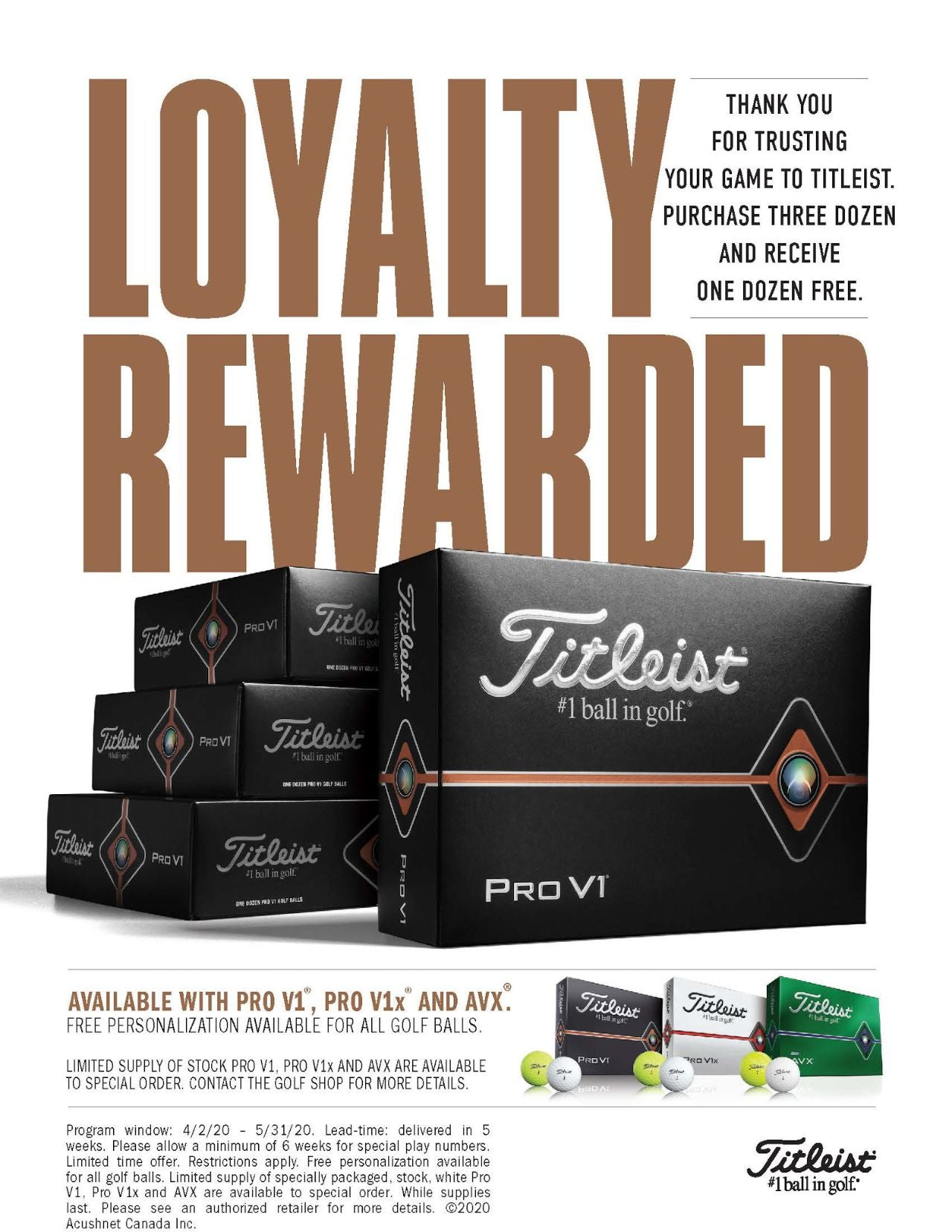 Pro Shop Deals | Titleist Loyalty Rewarded