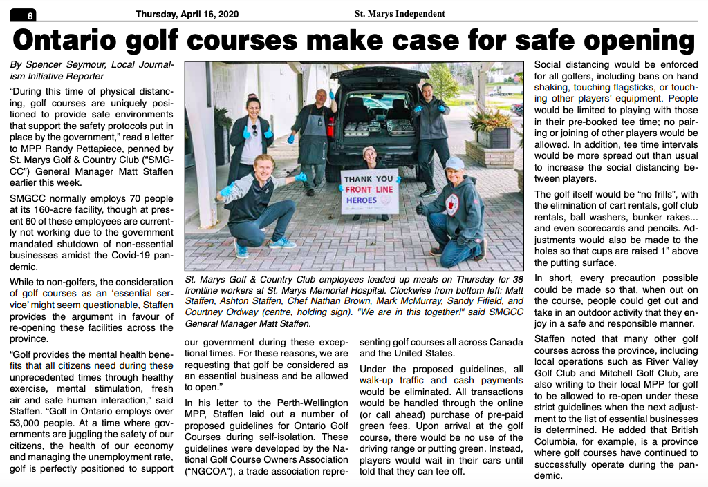 Golf Course Newspaper Article