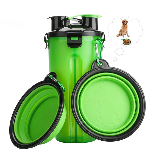 2 in 1 Water Bottle & Collapsible Travel Bowls for Pets