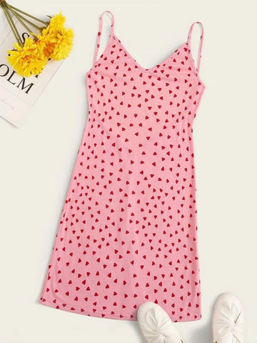 BACKLESS HEART PRINT CAMI DRESS