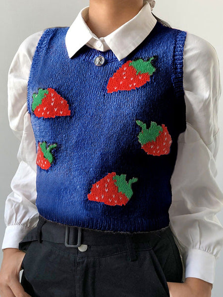 STRAWBERRY RIBBED CROPPED VEST