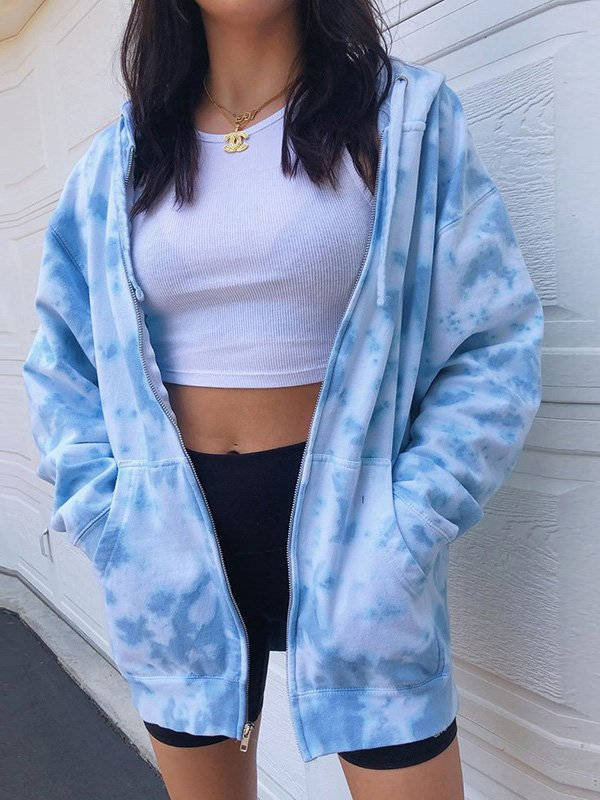 TIE DYE ZIPPER HOODED JACKET